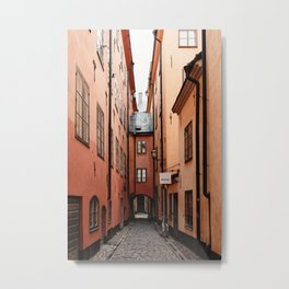 Stockholm, Sweden   Gamla Stan   old city centre   alley   old buildings   colored houses   bright colors   city print   travel photography   travel print   art print  Metal Print