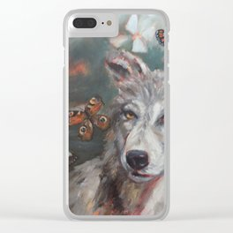 Butterfly Wolf Clear iPhone Case