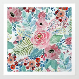 Pretty watercolor hand paint floral artwork. Art Print