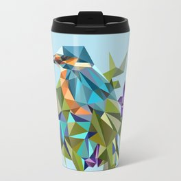 Common Kingfisher (halcyon) in Triangles Travel Mug