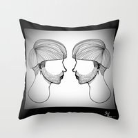 queer Throw Pillows featuring Queer boys  by Raúl Rodríguez