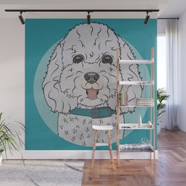 Icons of the Dog Park Bichon Frise  Design in Bold Colors for Pet Lovers Wall Mural