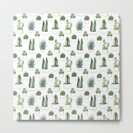 Watercolour Cacti & Succulents Metal Print