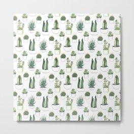 Watercolour Cacti & Succulents Metal Print