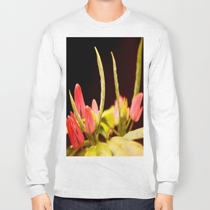 Exotic Colorful Flowers On A Black Background #decor #society6 Long Sleeve T-shirt