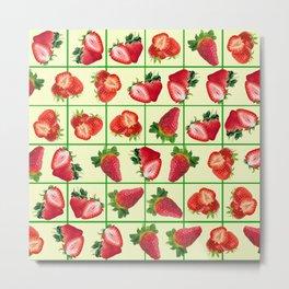 Strawberries pattern Metal Print