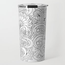 black&white hand drawn floral background Travel Mug
