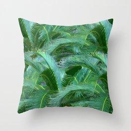 ABSTRACTED BLUE-GREEN TROPICAL PALMS GREEN ART Throw Pillow