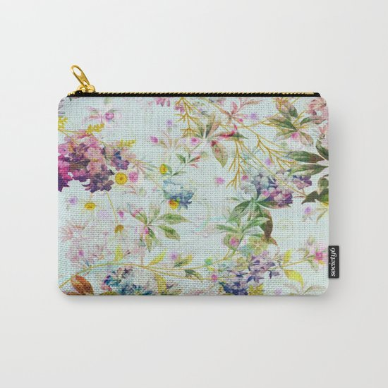sweet floral in light blue Carry-All Pouch