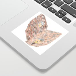 2 dimensions of separation - brick neighbour lovers Sticker