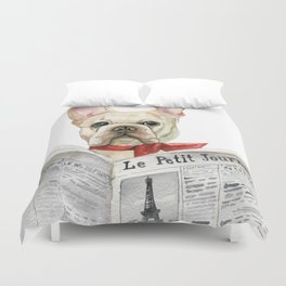 French bulldog with newspaper, bonjour Duvet Cover