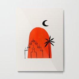 Minimalist Modern Midcentury Ancient Aztec Ruin Moon Palm Tree Ink Line Drawing Orange Metal Print