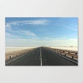 Long way into the salt desert Canvas Print