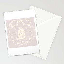 Home Sweet Cottage // Modern Folk Art // warm gray and cream Stationery Cards