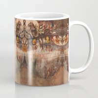 middle earth Mugs featuring Middle of the Earth by Loredana