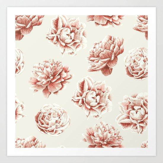 Rose Garden Vintage Rose Pink and Cream Art Print