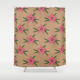 Old school tattoo flower pattern Shower Curtain
