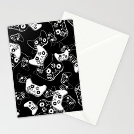 Video Game White on Black Stationery Cards