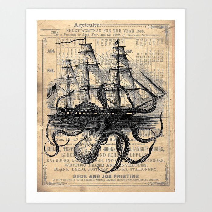 Octopus Kraken Attacking Ship Antique Almanac Paper Art