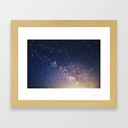 Milky Way and A Shooting Star Framed Art Print