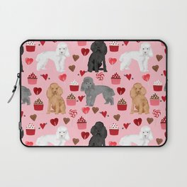 Toy Poodles mixed coat valentines day cupcakes love hearts dog breed gifts pet portraits must haves Laptop Sleeve
