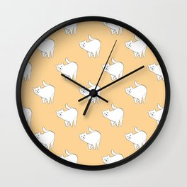 Cute Cat Pattern | Beige Wall Clock
