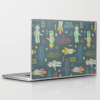 outer space Laptop & iPad Skins featuring Robots from Outer space by Silvia Dekker