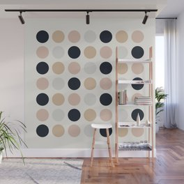 Muted Dots Minimalist Geometric Pattern in Blush Pink, Black, Sand, and Gray Wall Mural