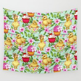 Ducklings' Spring Picnic Wall Tapestry