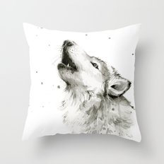 Wolf Howling Watercolor Animals Wildlife Painting Animal Portrait Throw Pillow