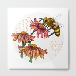 Bee and Montreal Echinacea Metal Print