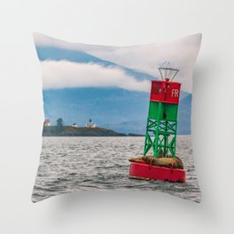 Sea lions relaxing on floating buoy in Auke Bay, Alaska Throw Pillow