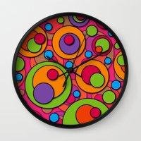 polka dots Wall Clocks featuring Polka Dots by Shelly Bremmer