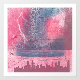 Town and the storm, pink, gray, blue Art Print