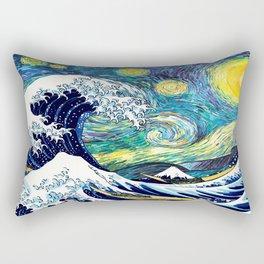 Starry Wave Night Rectangular Pillow