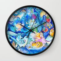 fairies Wall Clocks featuring Fairies Cats by oxana zaika