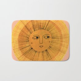 Sun Drawing Gold and Pink Bath Mat