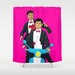 Just Married! Cool Gay Marriage Design! Queer Art! Shower Curtain