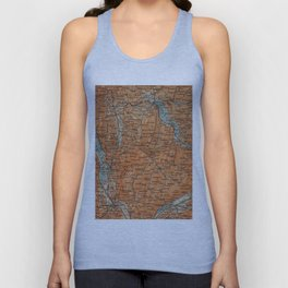 Vintage Map of Annecy France (1914) Unisex Tank Top