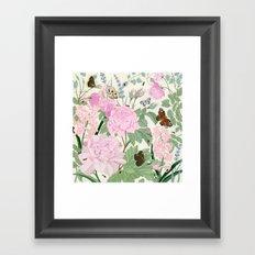 Pink flowers and butterflies Framed Art Print