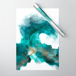 Wild Wave - alcohol ink painting, abstract wave, fluid art, teal, gold colored accents Wrapping Paper