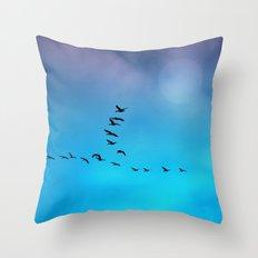 A flock of birds Throw Pillow