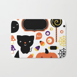 Halloween party set isolated on white Bath Mat