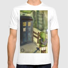 two worlds collide (Doctor Who and Leyend of zelda) White Mens Fitted Tee MEDIUM