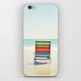 Beach Chair Photography, Colorful Coastal Ocean Landscape iPhone Skin