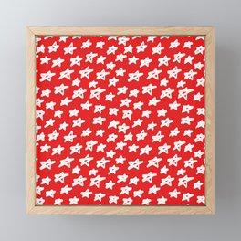 Stars on red background Framed Mini Art Print