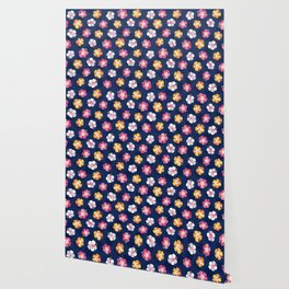 CANDY COLORED HIBISCUS on NAVY Wallpaper
