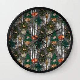 Sleepy Scandinavian Forest Wall Clock