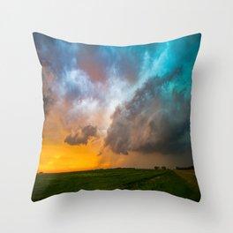 Glorious - Stormy Sky and Kansas Sunset Throw Pillow