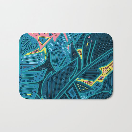 tropical leaves abstract 1 Bath Mat